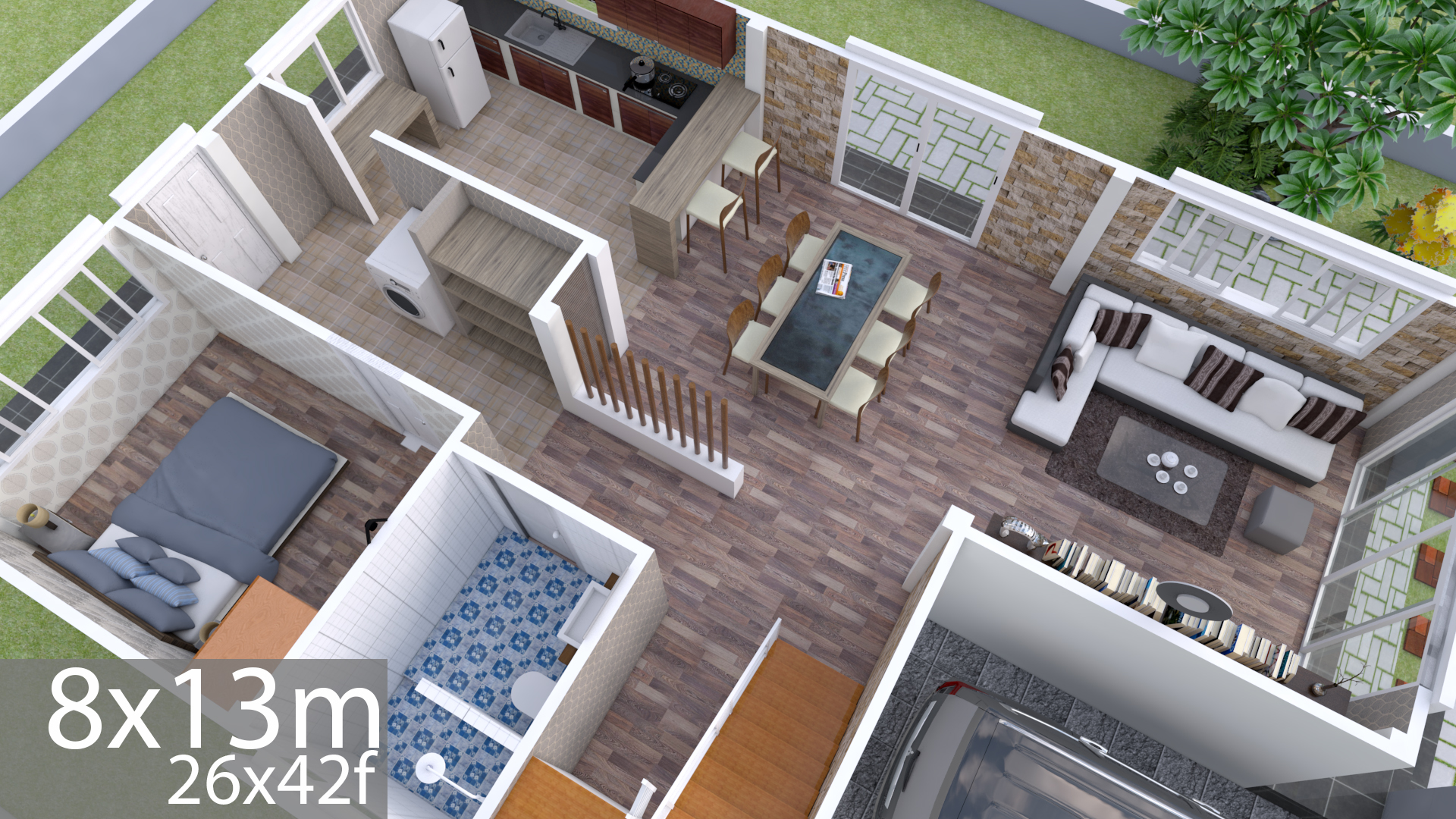 Plan 3D Interior Design Home Plan 8x13m Full Plan 3Beds - Samphoas.Com