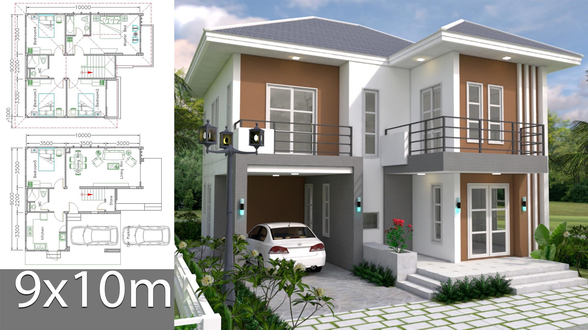 House Plans Design 9x10m 5beds Samphoas Com
