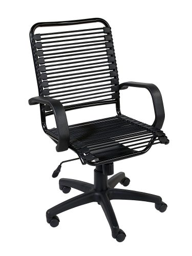 Eurø Style Bradley Bungie High Back Adjustable Office Chair with Arms, Black Bungies with Graphite Black Frame- best bungee chair