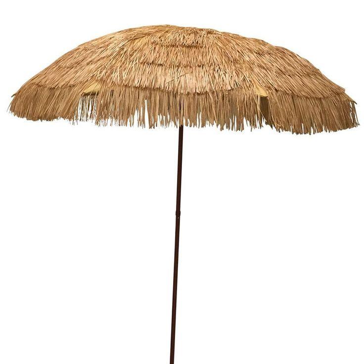 8′ Hula Umbrella 16 Fiberglass Ribs Covered w/ Beige Raffia_15 beset beach umbrella