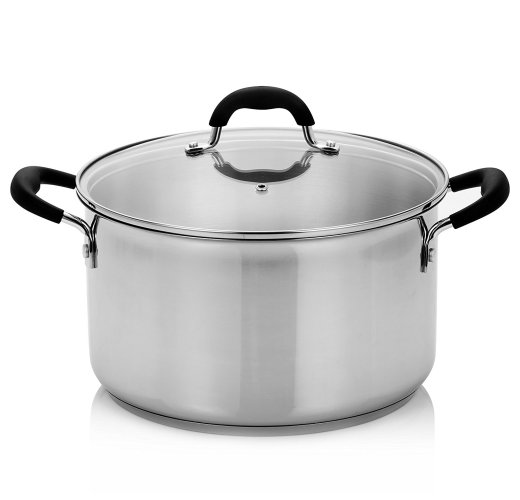 Finnhomy Approved AISI304 (18-10) Stainless Steel 8-Quart Stock Pot with Cover, 3 Layers Base,Induction Base Safe, Metallic - Stainless Steel Pot