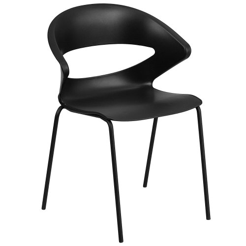 HERCULES Series 440 lb. Capacity Black Stack Chair - Plastic Chairs