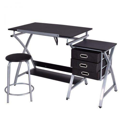 Tangkula Drafting Table Art & Craft Drawing Desk Art Hobby Folding Adjustable w/ Stool - Drawing Table
