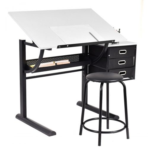 Yaheetech Adjustable Drafting Table Art & Craft Drawing Desk Art Hobby Folding w/ Stool - Drawing Table