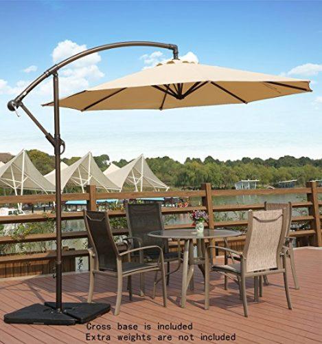 AMT Adjustable Offset Cantilever Hanging 10' Patio Umbrella - Offset Patio Umbrellas