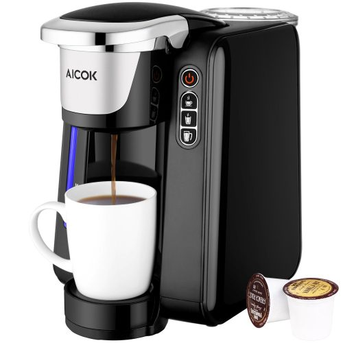 Aicok Single Serve Coffee Maker, Single Cup Coffee Maker with K-Cup Pods, Five Brew Sizes, 45Oz Large Removable Reservoir and Visible Water Level Indicator - Single Cup Maker