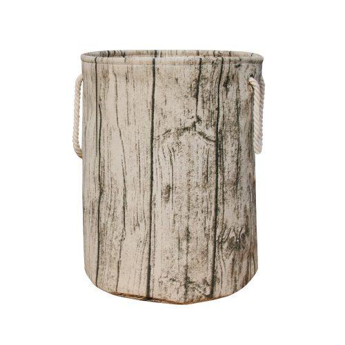 Jacone Stylish Tree Stump Shape Design Storage Basket Cotton Fabric Washable Cylindric Laundry Hamper with Rope Handles - Nursery Hampers