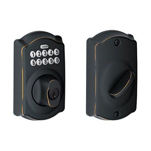 Schlage BE365VCAM716 Camelot Keypad Deadbolt, Aged Bronze - Keypad Door Locks