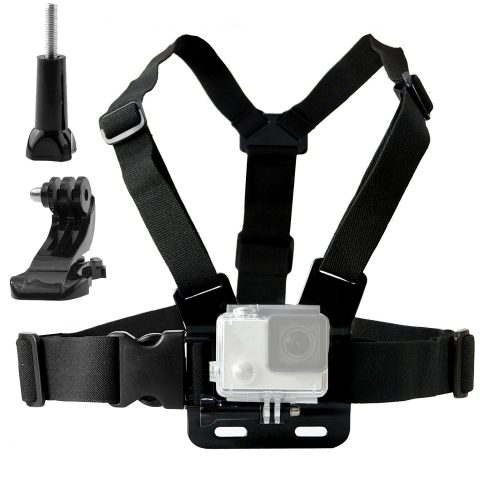 TEKCAM Adjustable Chest Harness Mount with J Hook Mount for AKASO/Apeman/Pictek/DBPOWER / WIMIUS/Lightdow/Cymas Action Sports Outdoor cameras accessories (Camera Not Included) - GoPro Chest Mounts
