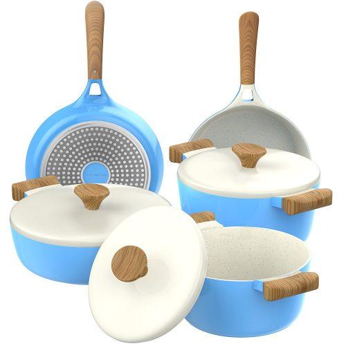 Vremi 8 Piece Ceramic Nonstick Cookware Set - pots pans sets