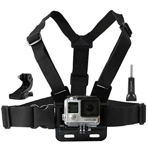 Zoukfox Chest Belt Strap Harness Mount, Camera Headstrap Mount + Quick Clip for Gopro Hero 4 Hero 3 Hero 3+ Hero 2 (Chest Strap) - GoPro Chest Mounts