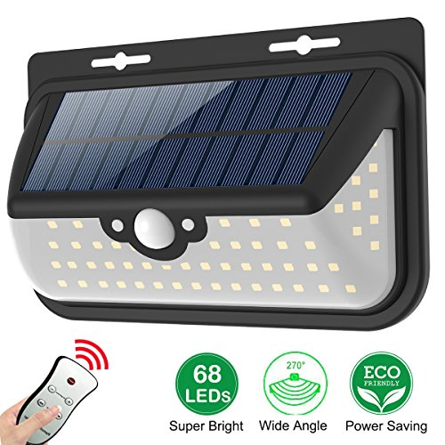 68 LED Solar Lights, Wireless and Waterproof Outdoor Solar Powered Motion Sensor Security Light Comes With Remote Control. Operates in total 3 Modes lighting, suitable for Garage, Patio, Garden, Yard, Step Stair, Fence, Deck - Motion Sensor Lights