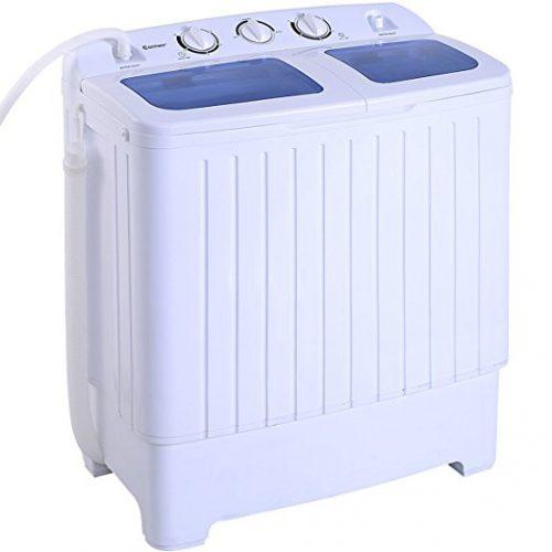 Costway Mini Portable Compact Twin Tub 16Lbs Washing Machine And Washer Spin Cycle w/ Hose - Portable Washing Machine