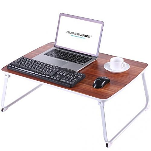 [EXTRA LARGE] Bed Table for Laptop, Superjare Drawing/Coloring/Sketching/Writing Table or PC Game Purposes, Portable Outdoor Camping Table - Beige - Folding Camping Table