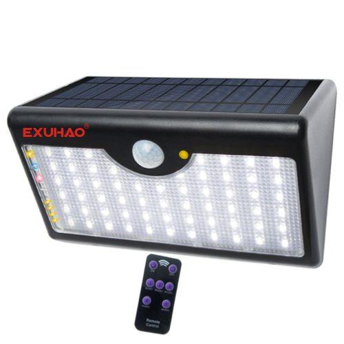 EXUHAO Solar Lights 60 LEDs wireless remote control, Outdoor Motion Sensor Light with 100 Watt Equivalent - Motion Sensor Lights