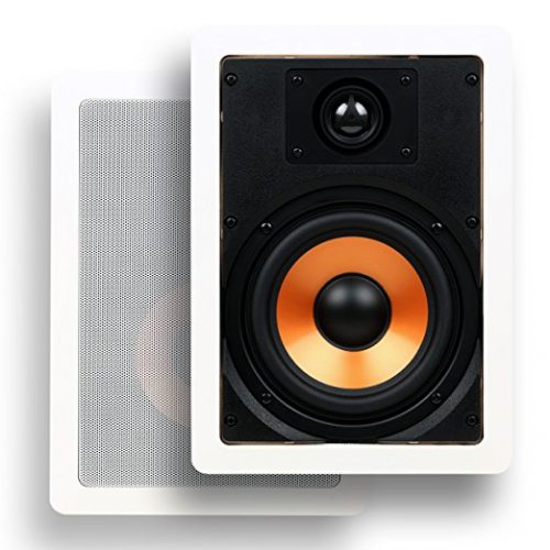 """Micca M-6S 6.5 Inch 2-Way In-Wall Speaker with Pivoting 1"""" Silk Dome Tweeter (Each, White) - In-wall Speakers"""
