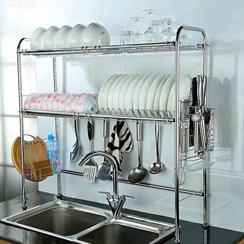 NEX 2-tier stainless steel dish rack nonslip height adjustable with chopstick holder - Dish Rack