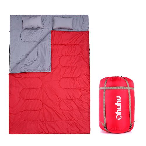 Ohuhu Double Sleeping Bag with 2 Pillows and a Carrying Bag for Camping, Backpacking, Hiking - Double Sleeping Bags