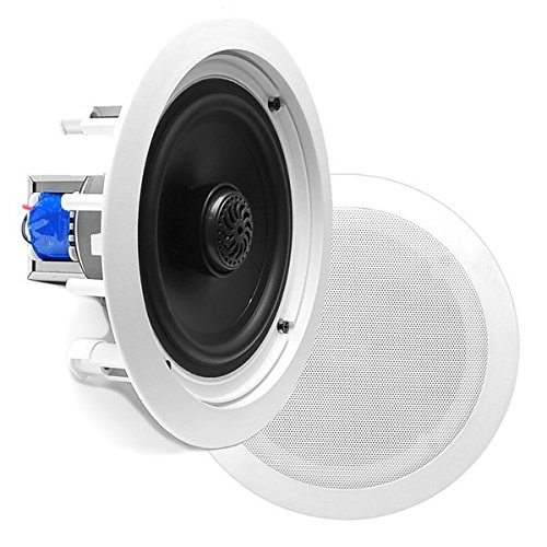 Pyle PDIC60T In-Wall / In-Ceiling Dual 6.5-Inch Speaker System, 70V Transformer, 2-Way, Flush Mount, White - in-ceiling speakers