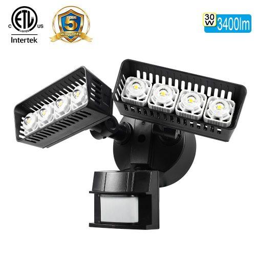 SANSI LED Security Motion Sensor Outdoor Lights, 30W (250W Incandescent Equivalent) 3400lm, 5000K Daylight, Waterproof ETL-listed Floodlights, Black - Motion Sensor Lights