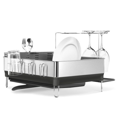 Simplehuman steel frame dish rack with wine glass holder, fingerprint-proof stainless steel, Grey - Dish Rack