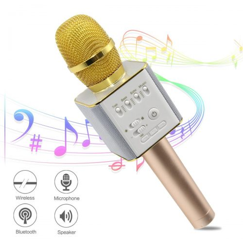 Ula Wireless Karaoke Microphones, Bluetooth Karaoke Machine, Upgraded 2600mAh Stereo Player Outdoor Family KTV Party Handheld Singing Q9, Compatible With Smartphone Devices  - Bluetooth Microphone