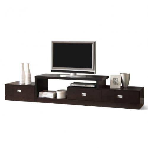 Baxton Studio Marconi Brown Asymmetrical Modern TV Stand - Wooden TV Stand
