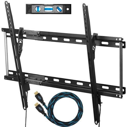 """Cheetah APTMM2B TV Wall Mount for 20-80"""" TVs up to VESA 600 and 165lbs, and fits 16"""" And 24"""" Wall Studs, and includes a Tilt TV Bracket, a 10' Twisted Veins HDMI Cable and a 6"""" 3-Axis Magnetic Bubble Level - Curved and Flat TV Wall Mount Bracket"""