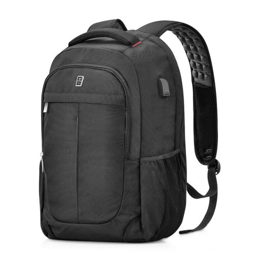 Laptop Backpack, Sosoon Business Anti-Theft Water Resistant Polyester Laptop Backpack with USB Charging Port Fits Up to 17-Inch Laptop and Notebook, Black - 17-inch laptop backpacks