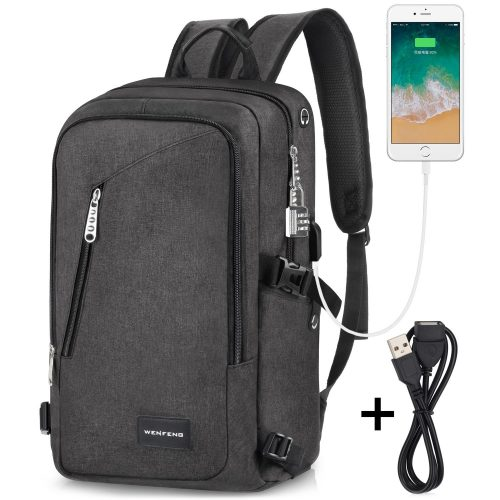 Laptop Backpack, WENFENG Business Computer Backpack with USB Charging Cable  and Lock, Water Resistant 1649b56ad4