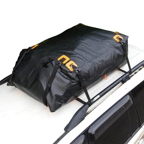 MARKSIGN 100% Waterproof Car Rooftop Cargo Carrier Bag, 14.5 cu ft, Waterproof Zipper and Rain Flap, 8x1.5 inch Nylon UV Proof Straps Fits Vehicles with Side Rails or Cross Bars, Aerodynamic Design - Best Waterproof Roof Top Cargo Bags