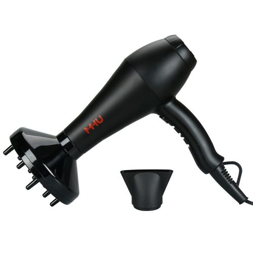 MHU Professional Infrared Ionic Hair Dryer With Concentrator & Diffuser 1875w AC Motor 2 Speed And 3 Heating 2.65M Salon Cable Blow Dryer, Black - Hair Dryer for Curly