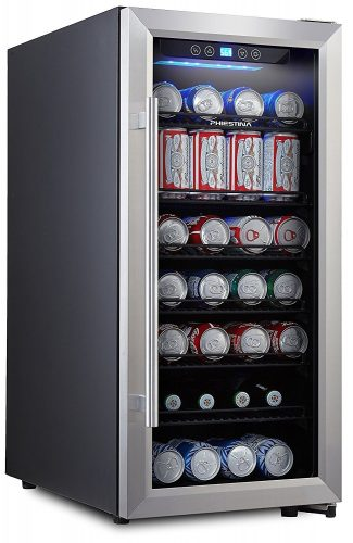 Phiestina PH-CBR100 106 Can Beverage Cooler Stainless Steel Door with Handle - best beverage refrigerators