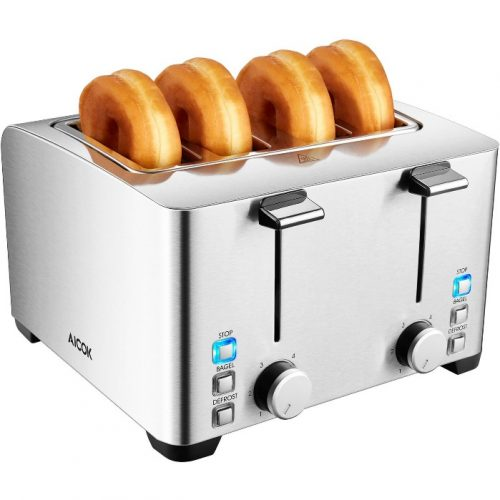 Aicok 4-Slice Toaster, Brushed Stainless Steel Toaster, Extra Wide Slot Fit Bagel, 6 Toast Shade Setting and Defrost Function, 1500W, Silver - 4 Slice Toaster