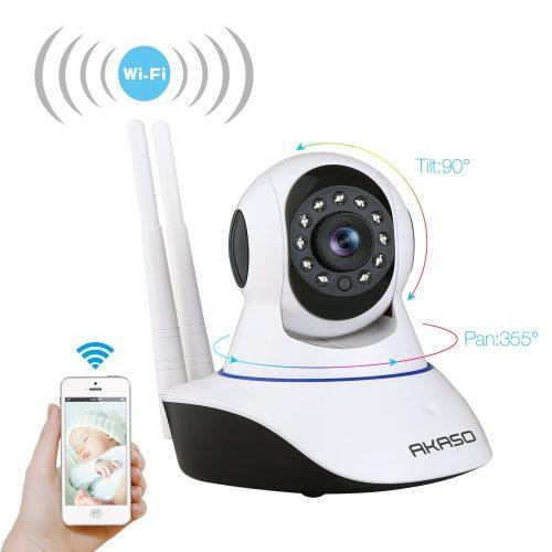 AKASO Wireless Wifi IP Security Camera 720P Indoor Home Surveillance System Baby Pet Monitor 2 Way Audio, Day/Night Vision Webcam (IP1M-901). - Wireless Webcam