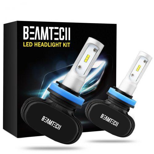 BEAM TECH H11 LED Headlight Bulb, 50W 6500K 8000Lumens Extremely Bright H8 H9 CSP Chips Conversion Kit - Automotive Headlight