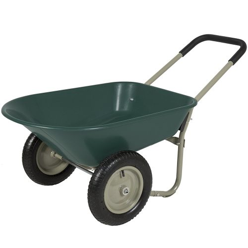 Best Choice Products Dual Wheel Home Wheelbarrow Yard Garden Cart - 2-WHEEL WHEELBARROW