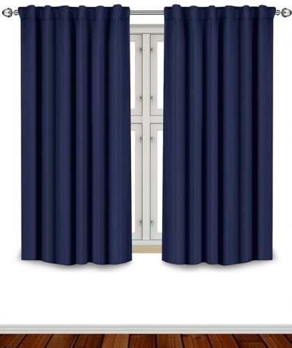 Blackout Room Darkening Curtains Window Panel Drapes - Navy 2 Panel Set 52 inch wide by 63 inch long each panel - 7 Back Loops per Panel - 2 Tie Back Included - by Utopia Bedding- darkening curtain