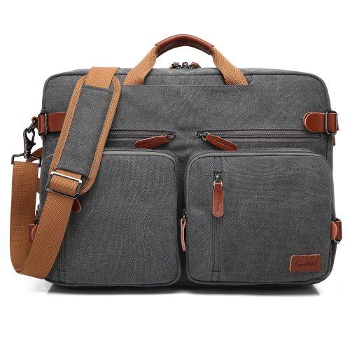 CoolBELL Convertible Backpack Messenger Bag Shoulder bag Laptop Case Handbag Business Briefcase Multi-functional Travel Rucksack Fits 17.3 Inch Laptop For Men / Women (Canvas Dark Grey) - laptop messenger bag