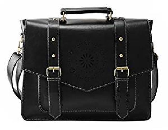 ECOSUSI Women's PU Leather Laptop Bag Tote Messenger Bag - Messenger Bags for Women