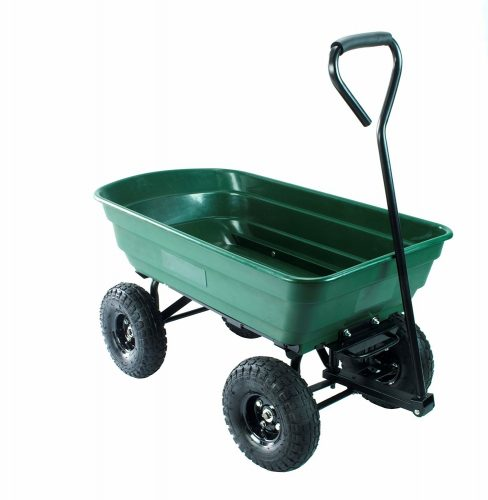 Erie Tools Poly Garden Dump Utility Yard Cart Heavy Duty Steel Frame Yard  Wagon With 550