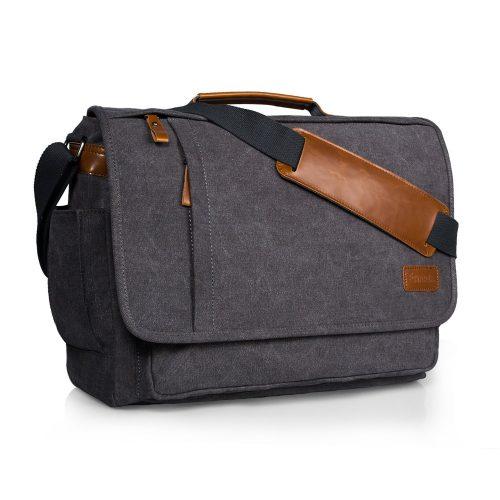 Estarer Laptop Messenger Bag 17 Inch Water-resistance Canvas Shoulder Bag for Work College - laptop messenger bag