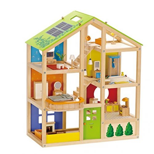 Hape All Seasons Kid's Wooden Doll House Furnished with Accessories - Doll House Toys