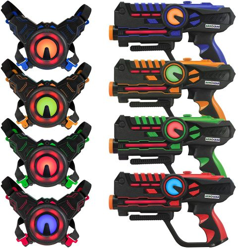 Infrared Laser Tag Guns and Vests - Laser Battle Mega Pack Set of 4 - Infrared 0.9mW - Laser Tag Guns