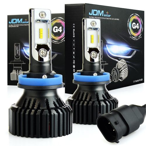 JDM ASTAR Newest Version G4 8000 Lumens Extremely Bright AEC Chips H11 H8 H9 All-in-One LED Headlight Bulbs Conversion Kit, Xenon White - Automotive Headlight