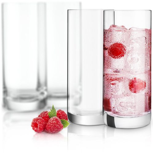 JoyJolt Stella Lead-Free Crystal Highball Glass 14.2-Ounce Barware Collins Tumbler Drinking Glasses For Water, Juice, Beer, And Cocktail Set Of 4 - Highball Glass