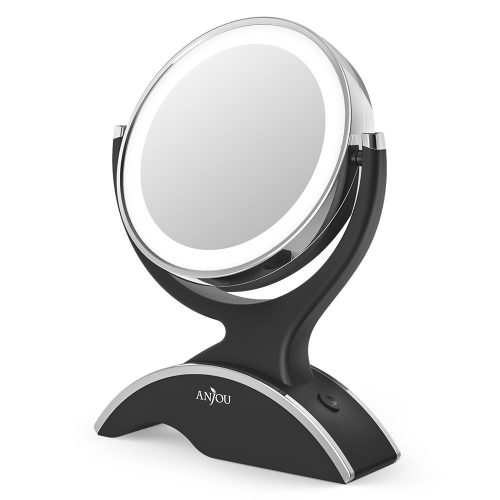 Makeup Mirror LED Lighted with 1X / 7X Magnification, Anjou Vanity Mirror Battery Powered, Removable, Double Side, 360° Rotation for Countertop Cosmetic Makeup with 3 Free Batteries. - Make Up Mirror