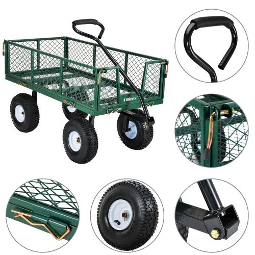 ollieroo utility wagon farm and ranch heavy duty steel garden cart with removable folding sides - Garden Utility Cart
