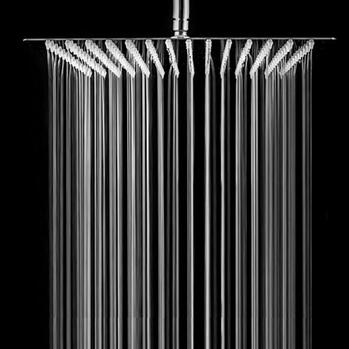 SARLAI Solid Square Ultra Thin 304 Stainless Steel Brushed Nickel 12 Inch Adjustable Rain Shower Head, Waterfall Full Body Coverage with Silicone Nozzle - Rain Shower Heads