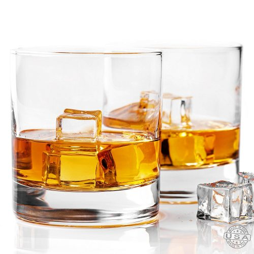 Taylor'd Milestones Whiskey Glass, Premium 10 oz Scotch Glasses, Set of 2 Rocks Style Glassware for Bourbon and Old Fashioned Cocktails - Highball Glass